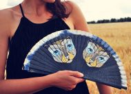 Girl  with Cats black Handfan made by Gigi