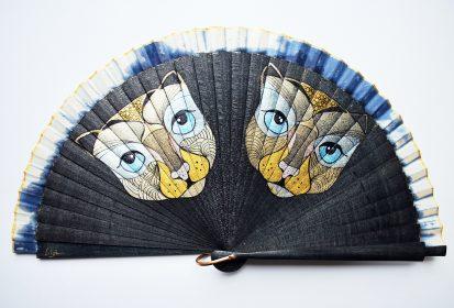 Cats black Handfan made by Gigi