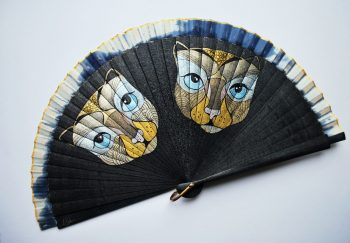 Cats black Handfan made by Gigi