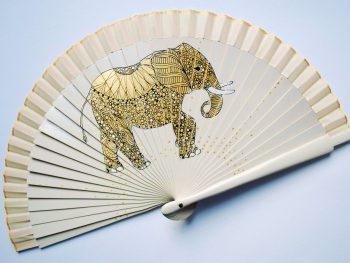 Elephant white handfan