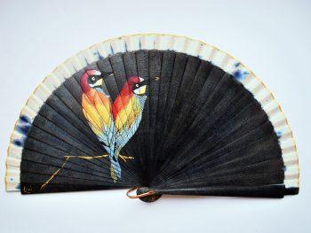 birds black handfan made by Gigi