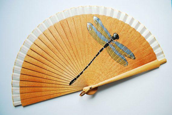 dragonfly wood handfan by Gigi