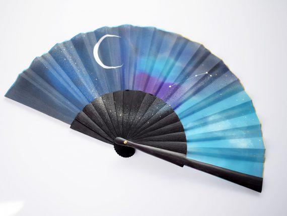 hand fan black blue elegant
