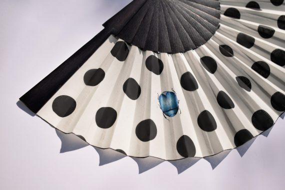 fan polka dots modern, hand fan, folding fan, abanico artesanal, eventail
