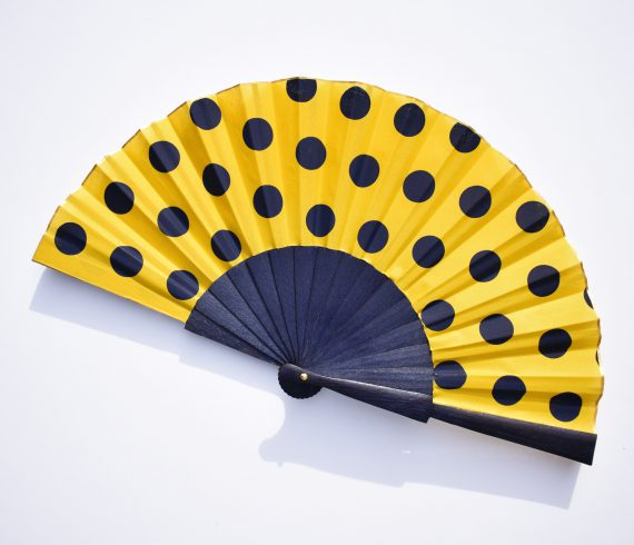 polka dots blue hand fan chic