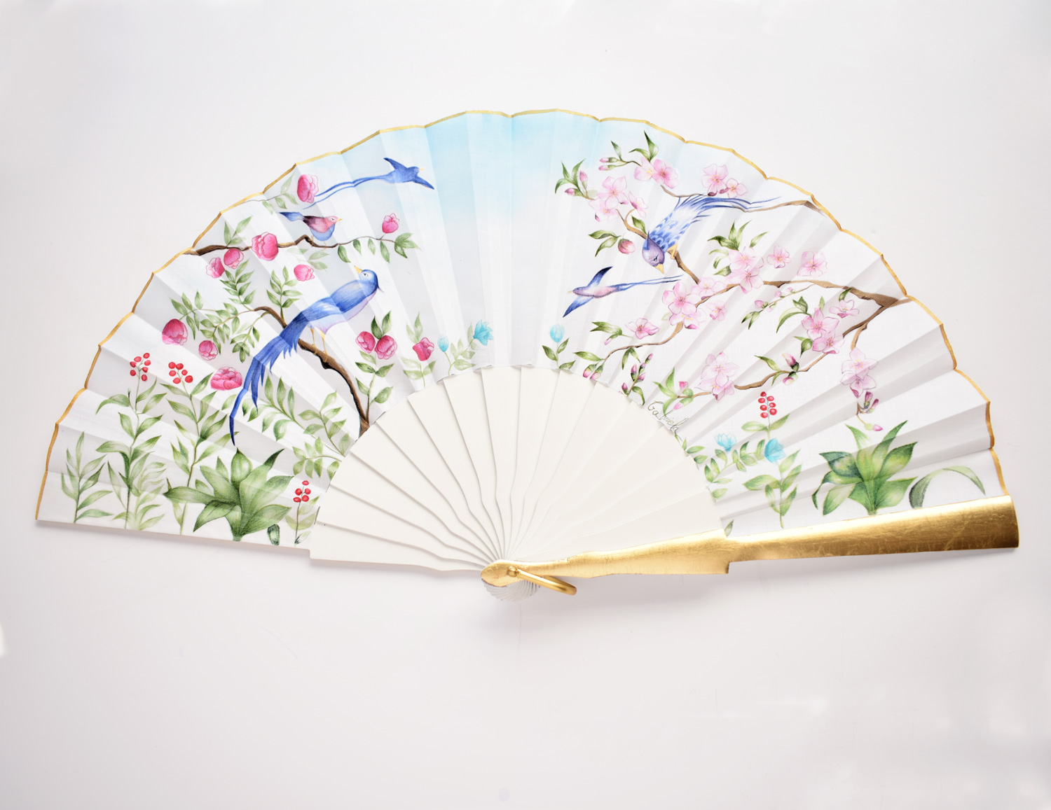 Hand fans, Wedding hand-painted fans for bridal - BIRDS AND BRANCHES