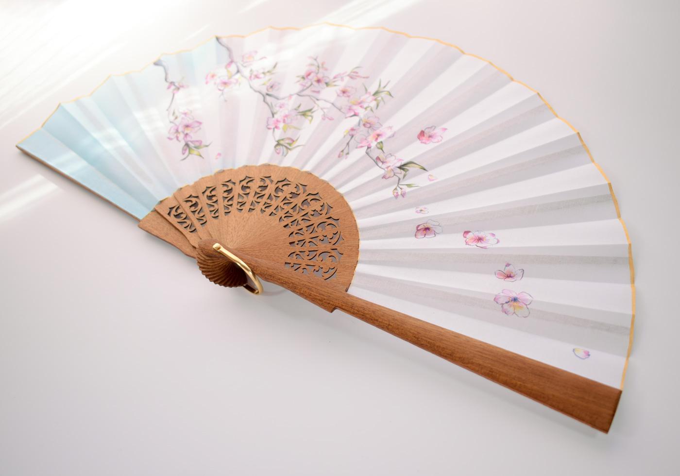 painted hand fan custom fan personalized hand fans wooden hand fan embroidered hand fan in different models and colors Flowers hand fan