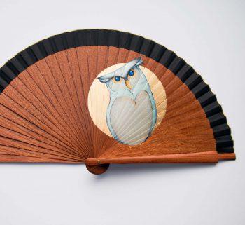 woooden hand fan owl